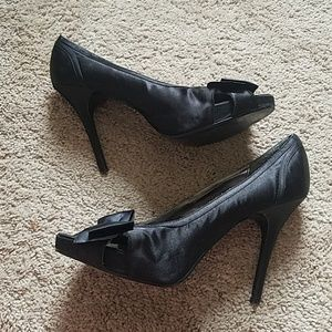 Bakers Black High Heels with Bow and Peep-toe